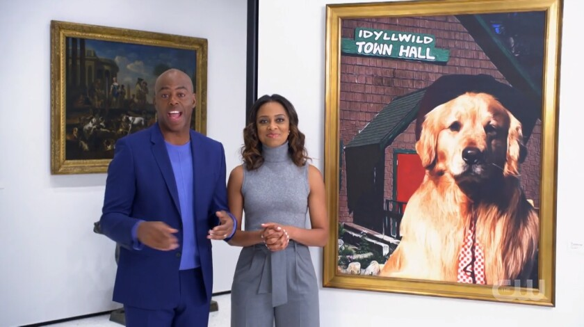 CW Network hosts Kevin Frazier and Nischelle Turner tell the story of Idyllwild's dog politician, Mayor Max, and show his portrait on exhibit in the American Kennel Club Museum of the Dog in New York City.