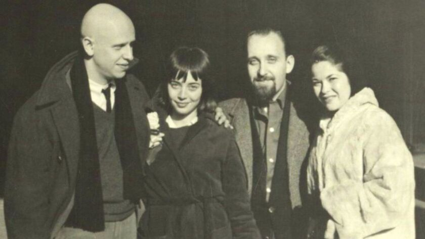"""""""This was our wedding day. The two people on the right of us are Diane and Jerry Rothenberg, who were our witnesses at City Hall in New York where we were married. I believe it was Dec 1961. David was better at remembering dates than I am.""""—Eleanor Antin"""