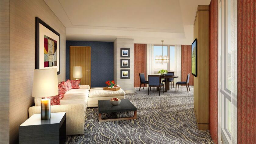 The spacious suites in the new hotel tower at Pechanga Resort & Casino feature contemporary finishes and design. With a total of 1,090 rooms, Pechanga will be the largest casino hotel in California.