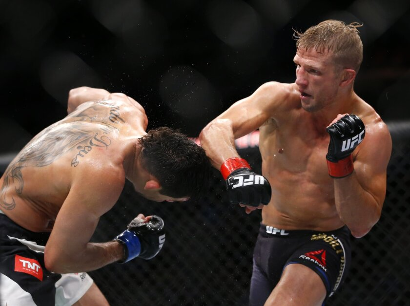 TJ Dillashaw, right, lands a punch to the head of Renan Barao during their bantamweight mixed martial arts title bout during UFC Chicago on Saturday, July 25, 2015, in Chicago. Dillashaw won in the fourth round.