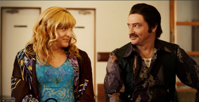 """Sweet and absurd and a little melancholy, Netflix' """"Short Poppies"""" features Rhys Darby(seen here as Louise Cooper and Rhod Gainer) in a different role, male or female, in each episode."""