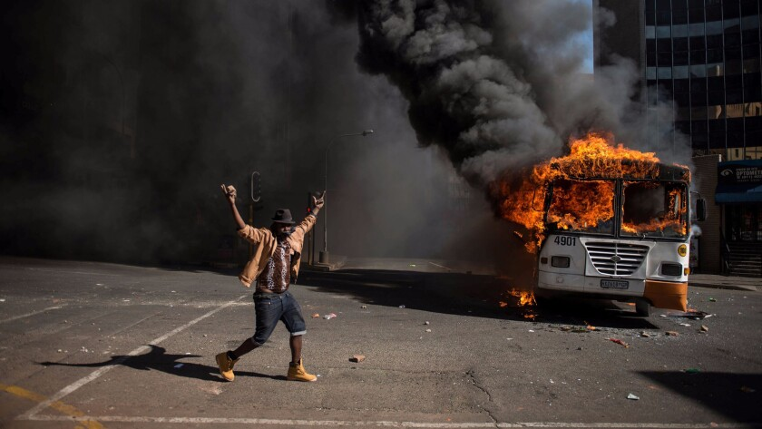 Students and police clashed in South Africa during protests over education costs.
