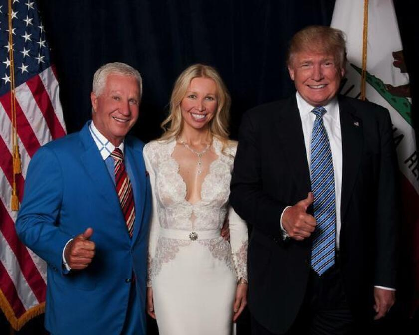 Real estate developer Doug Manchester appears with Geniya Manchester and President Donald Trump in this 2016 file photograph.