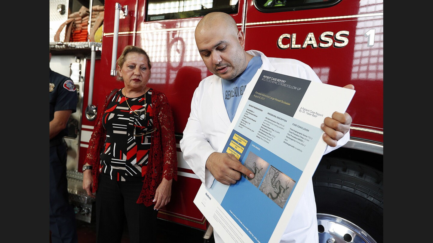 Photo Gallery: Stroke victim visits Glendale Fire Station 25 to thank first responders and Glendale Adventist doctor who saved her