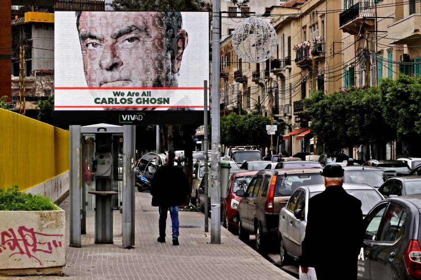 A portrait of ousted Nissan Chairman Carlos Ghosn on a billboard in Beirut in 2018.