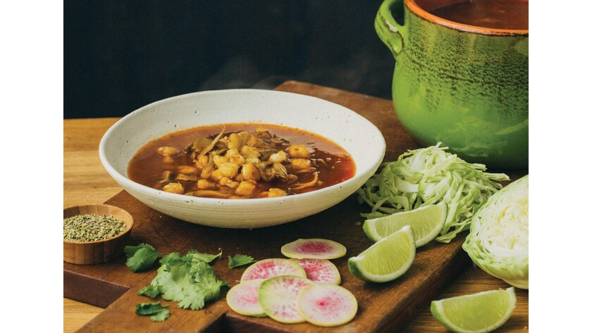 Red pozole with medicinal mushrooms.