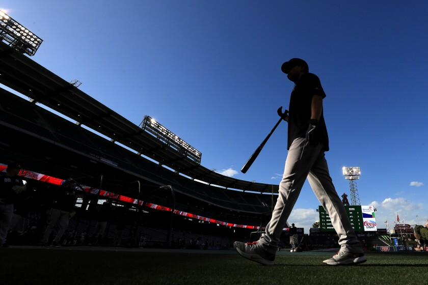 The New York Yankees take batting practice at Angel Stadium prior to a game on April 22.