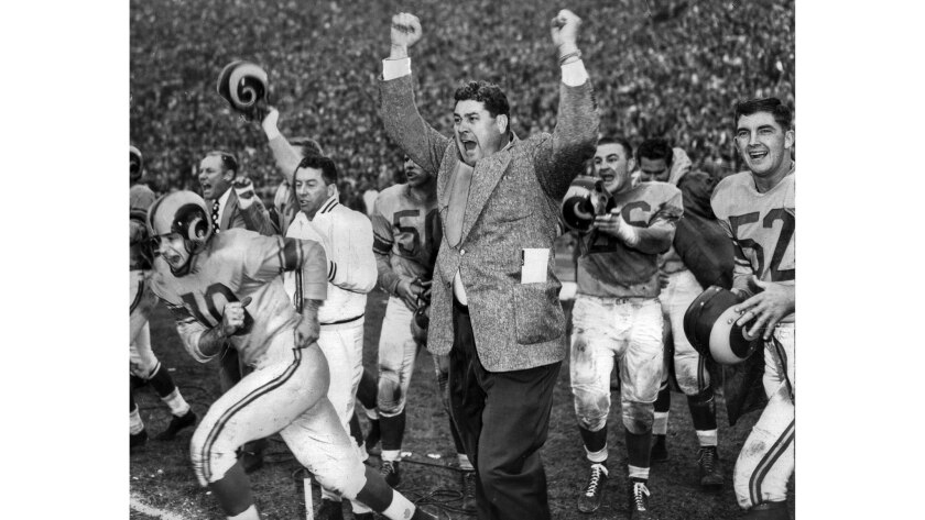 Dec. 23, 1951: Coach Joe Stydahar and members of the Los Angeles Rams celebrate winning the NFL Championship 24-17 over the Cleveland Browns in game at the Coliseum.