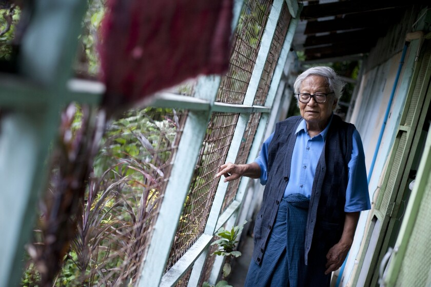 Longtime Myanmar dissident and political prisoner Win Tin at his home in Yangon.