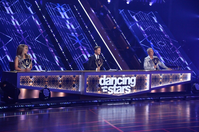 "Judges Carrie Ann Inaba, Derek Hough and Bruno Tonioli on ""Dancing With the Stars"""