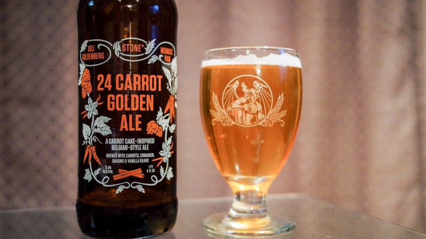 The ale was the winning entry in this year's Stone Homebrew Competition, with a recipe from San Diego homebrewer Juli Goldenberg that called for raisins, vanilla, cinnamon and lots of carrots.