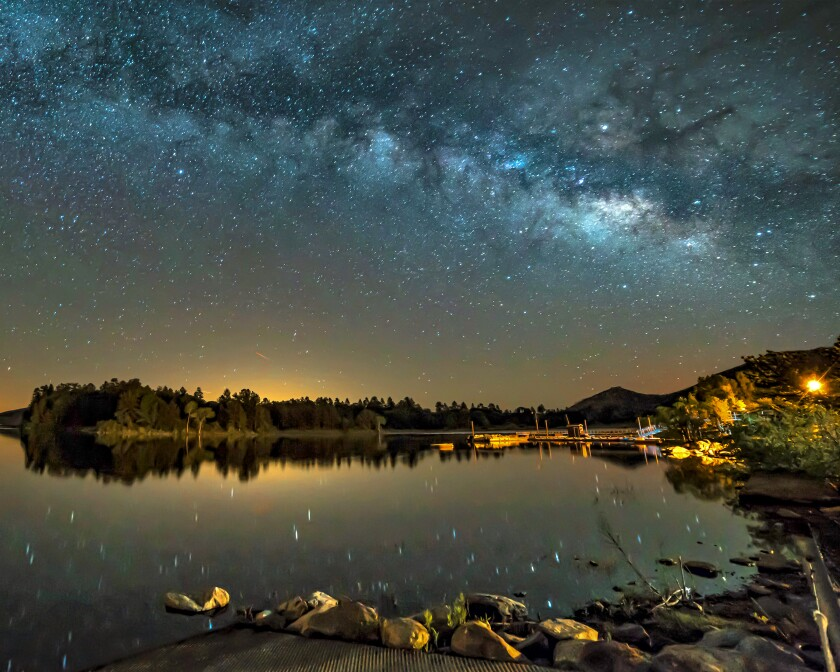 An image of the Milky Way over Lake Cuyamaca, taken by Julian based photographer Kevin Wixom.