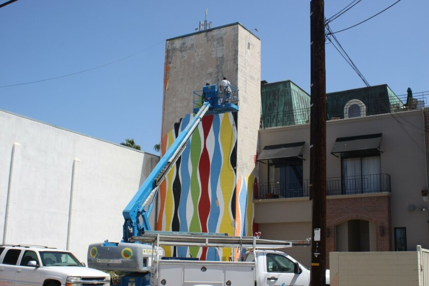 The Kim MacConnel mural 'The Girl from Ipanema' is removed over a few days last week.