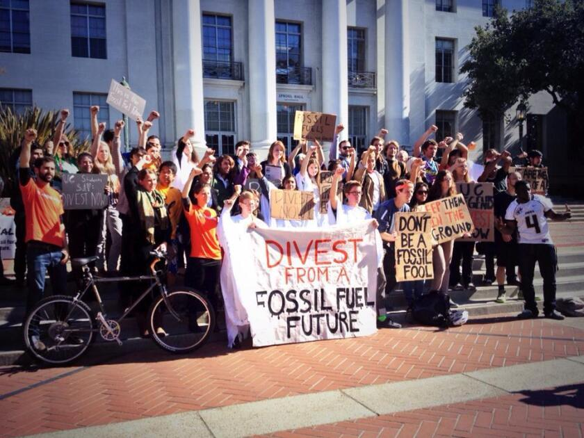 UC Berkeley protest  of the university's investments in fossil fuels.