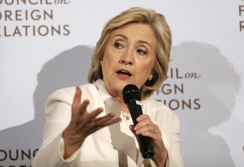 Democratic presidential candidate Hillary Clinton speaks at the Council on Foreign Relations in New York, where she outlined her policieis for combatting Islamic State militants in Iraq and Syria.