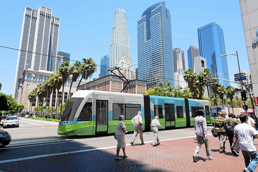 An artist's rendering shows the proposed streetcar line near 6th and Hill streets.