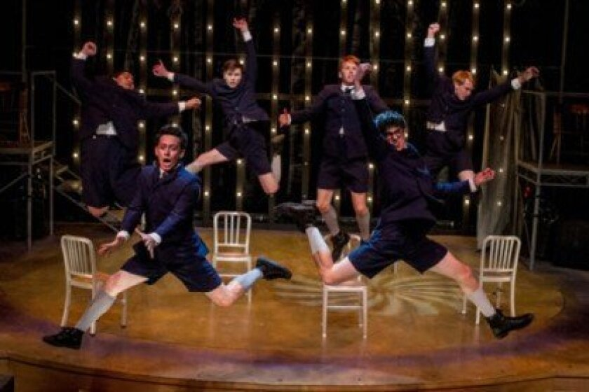 (Top Row) William Corkery, Dylan Mulvaney, Dave Thomas Brown, Jacob Caltrider with (Bottom Row) Charles Evans, Jr. and Christopher Ruetten astound in 'Spring Awakening.'  Photos by Daren Scott