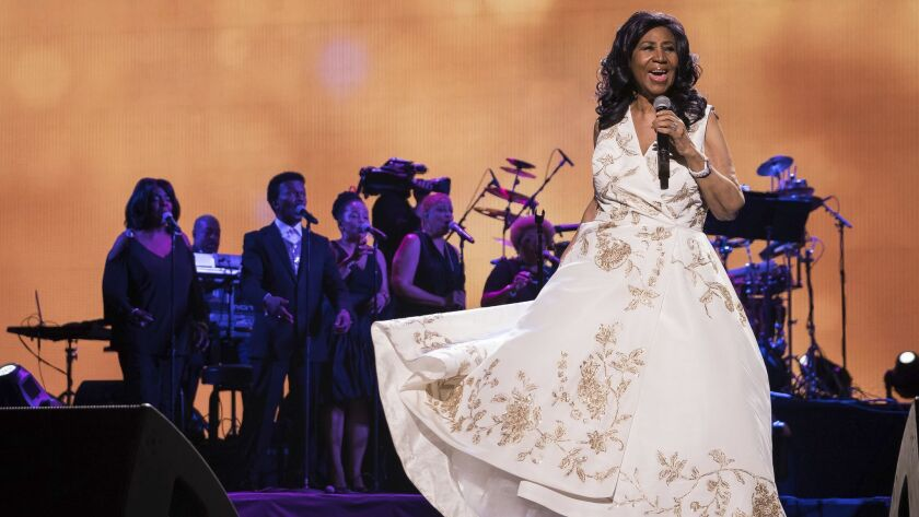 Aretha Franklin, shown performing in New York in 2017, will be feted in a Grammy Awards-related CBS-TV special to be filmed on Jan. 13 in Los Angeles.