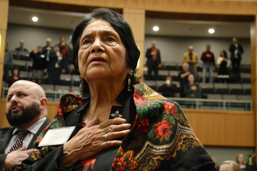 Social activist Dolores Huerta, who formed a farmworkers union with Cesar Chavez, has endorsed Joe Biden's presidential bid.