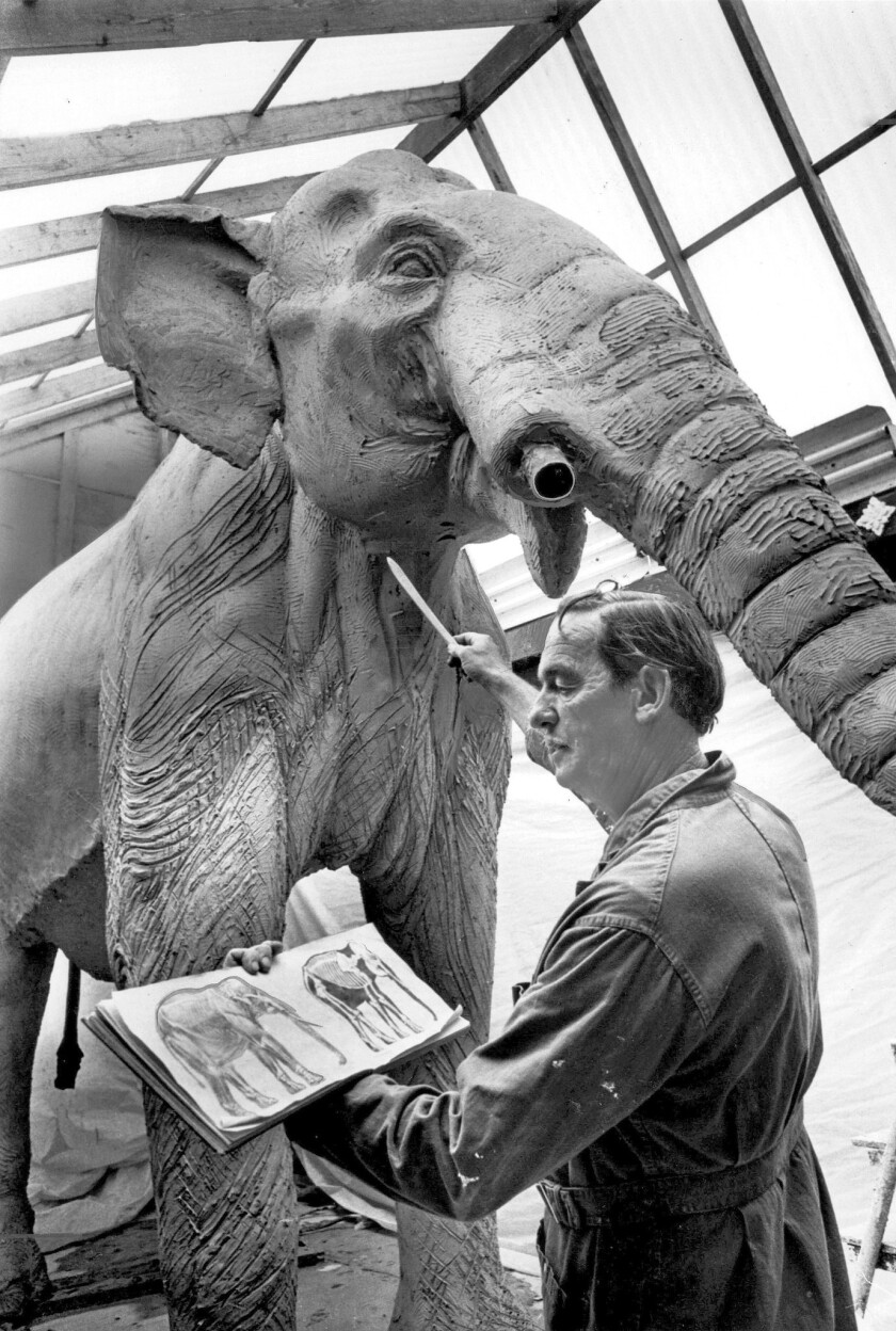 In 1966, sculptor Howard Ball touches up his 13-foot-tall replica of a mammoth for the La Brea tar pits.