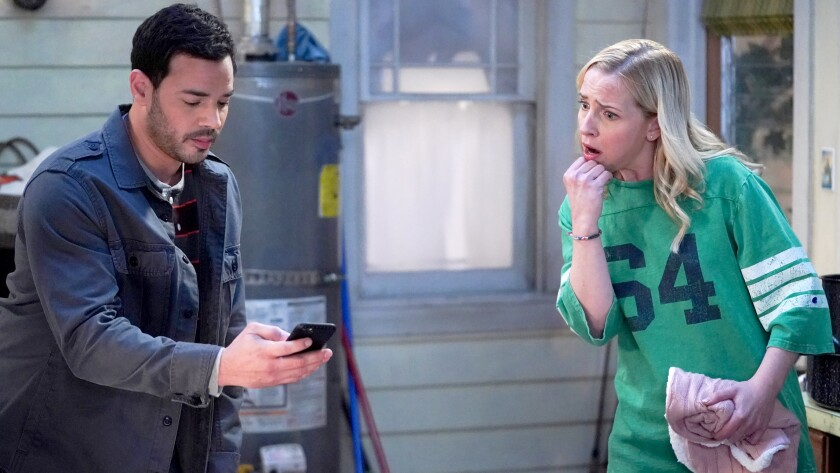 """Rene Rosado and Lecy Goranson in the season finale of """"The Conners"""" on ABC."""