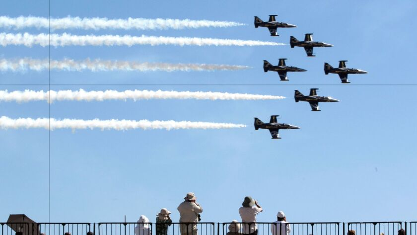 SAN DIEGO , September 24, 2016 | People watch from the stands as the Breitling L-39 Jet Team perfor