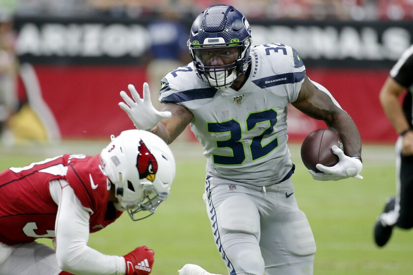Seattle running back Chris Carson rushed for 104 yards in 22 carries in the Seahawks' 27-10 victory over the Arizona Cardinals on Sunday in Glendale, Ariz.
