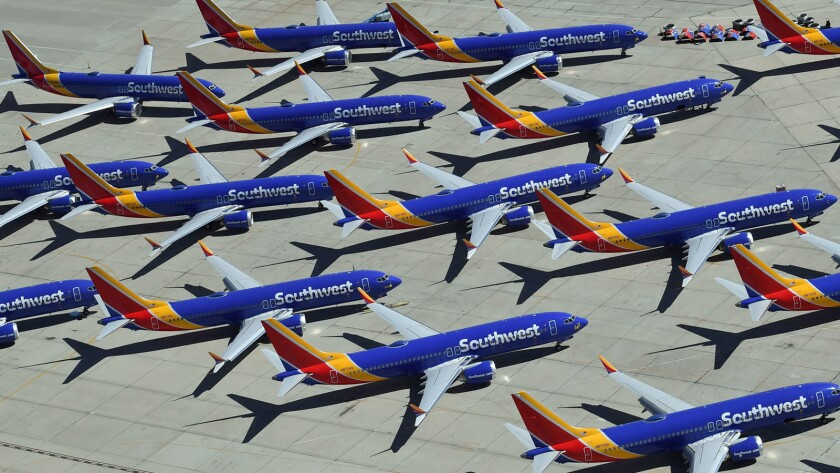 Southwest Airlines Boeing 737 Max aircraft are parked on the tarmac in March after being grounded at the Southern California Logistics Airport in Victorville.