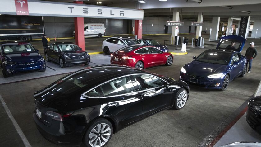 CANOGA PARK, CA-MARCH 7, 2019: Overall, shows new Tesla vehicles for sale in the parking garage of