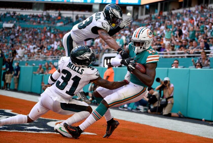Miami Dolphins wide receiver DeVante Parker catches a touchdown pass.