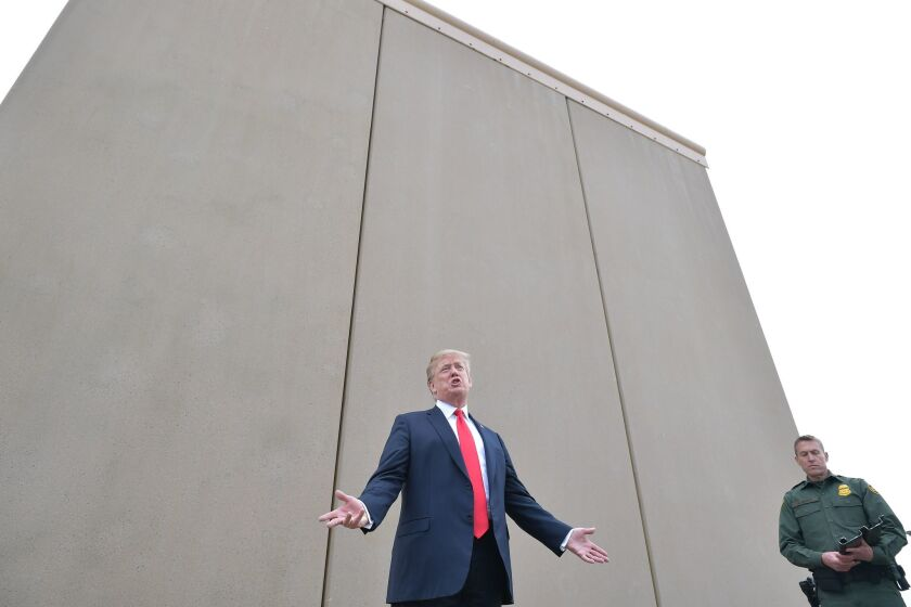 President Trump speaks after looking at proposed border-wall prototypes near San Diego on March 13.