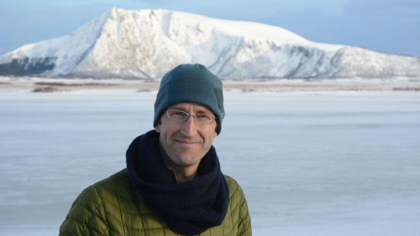"A photograph of Robert McFarlane in Andoya, Northern Norway for his book ""Underland."" Credit: Bjorna"