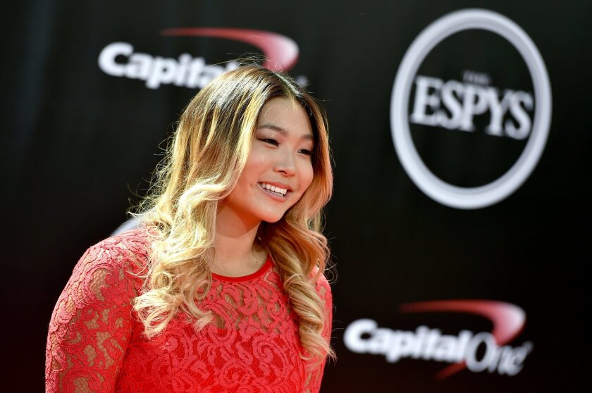 Snowboarder Chloe Kim arrives at the ESPY Awards at the Microsoft Theater on Wednesday, July 13, 2016, in Los Angeles. (Photo by Jordan Strauss/Invision/AP)