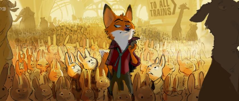 "A fast-talking fox is framed for a crime he didn't commit in Walt Disney Animation Studios' ""Zootopia""  due in theaters in 2016.  la-et-zootopia"