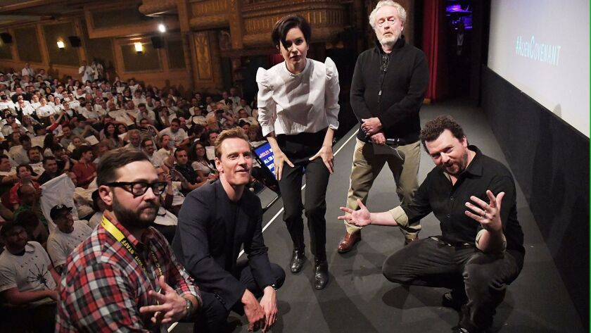 """At the """"Alien"""" screening at SXSW, from left, festival producer and senior programmer Jarod Neece, actors Michael Fassbender and Katherine Waterston, director Ridley Scott and actor Danny McBride."""