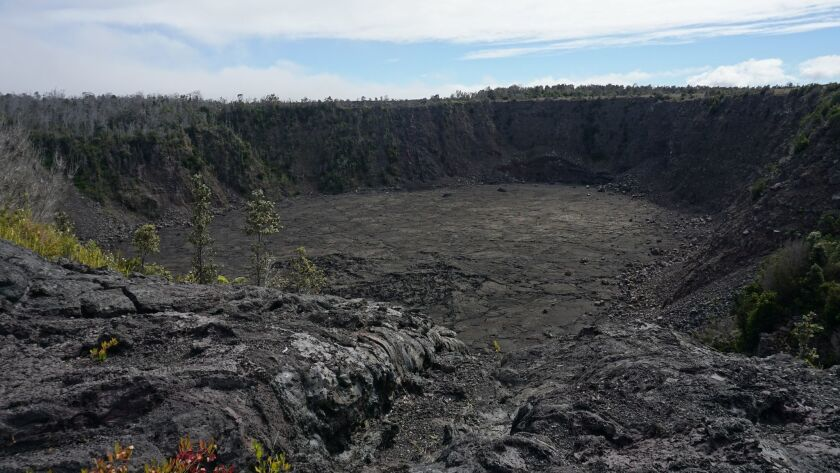 HAWAII NATIONAL PARK, HI – DECEMBER 2, 2018: Keanakakoi Crater, pictured here, sits across the str