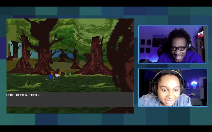 A screenshot of two smiling people wearing headphones on one side with a video game on the other