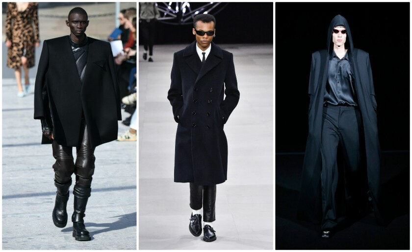 "From left, fall fashion looks from Bottega Veneta, Celine and Balenciaga all seem to be taking their inspiration from the 1999 film ""The Matrix."""