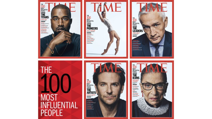 The Time 100 list appears in the new issue, with five distinct covers.