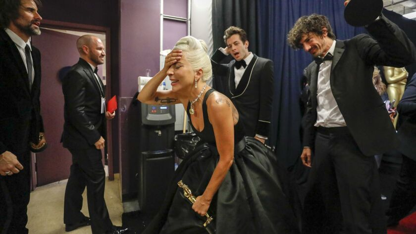 """Lady Gaga backstage after """"Shallow"""" won the Academy Award for best song."""