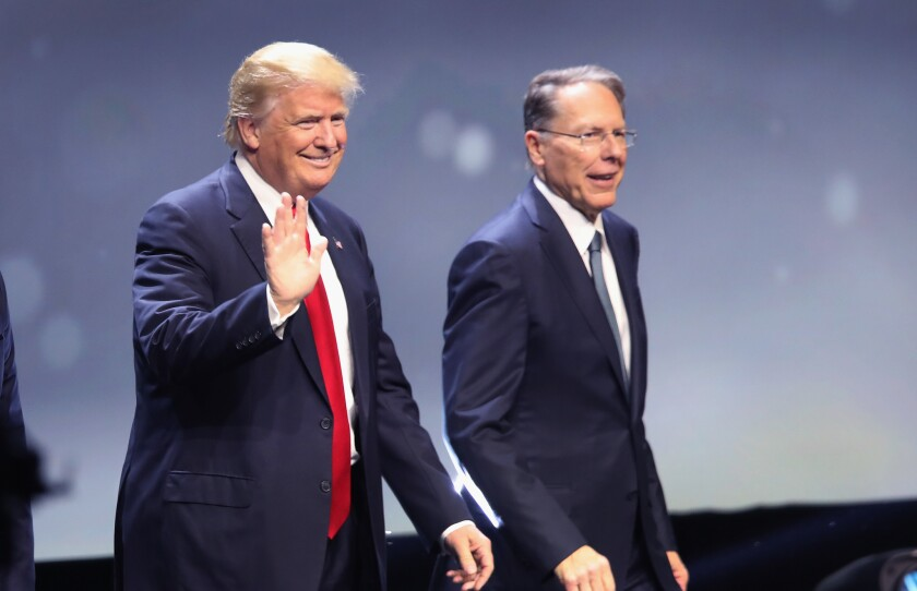 Donald Trump with Wayne LaPierre, executive vice president of the National Rifle Assn., at the organization's 2016 national convention.