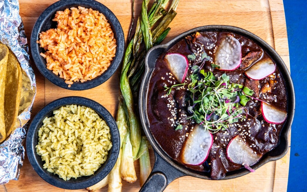 Pulled Chicken in Mission Fig Mole Sauce