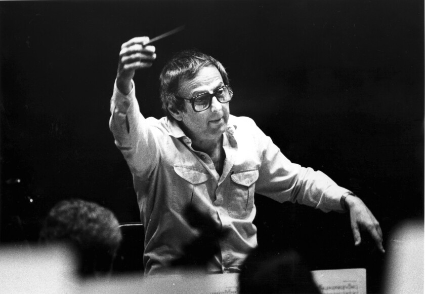 Andre Previn rehearses with the Los Angeles Philharmonic on Dec. 2, 1986.