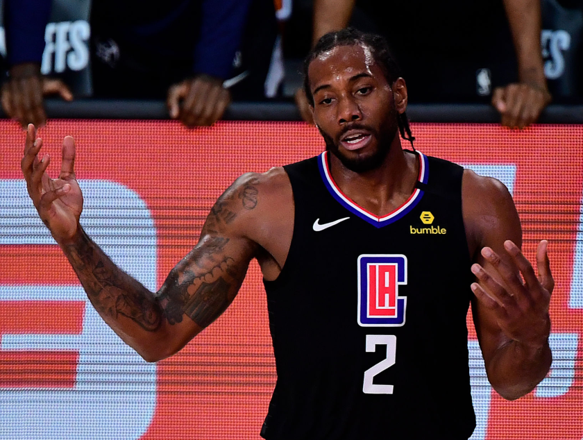 Clippers star Kawhi Leonard reacts during the team's season-ending loss to the Denver Nuggets.