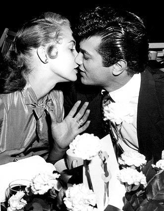 """Tony Curtis and Janet Leigh in the 1950s. From the book """"Hollywood Moments,"""" by Murray Garrett. Curtis died Wednesday night at age 85. See full story"""