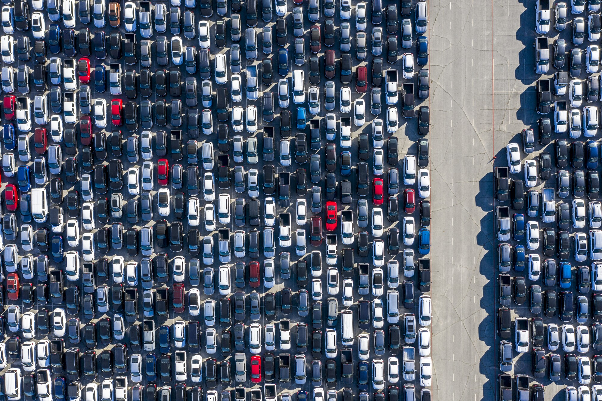 Thousands of rental cars are stored at Dodger Stadium.