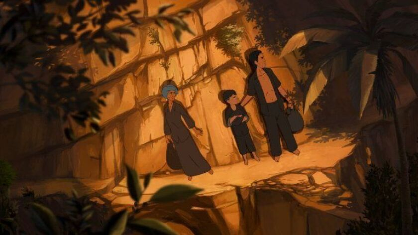"""Chou (left, voiced by Bérénice Bejo), Sovanh, and Khuon (voiced by Louis Garrel) in a scene from the animated film """"Funan."""""""