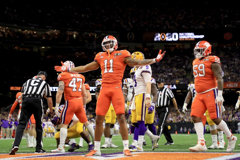 Clemson's Isaiah Simmons celebrates a defensive stop against LSU Tigers in the college football national title game in January.
