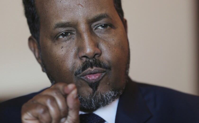 Somali President Hassan Sheikh Mohamud talks to the Associated Press while visiting Dubai in the United Arab Emirates on Nov. 17, 2015.