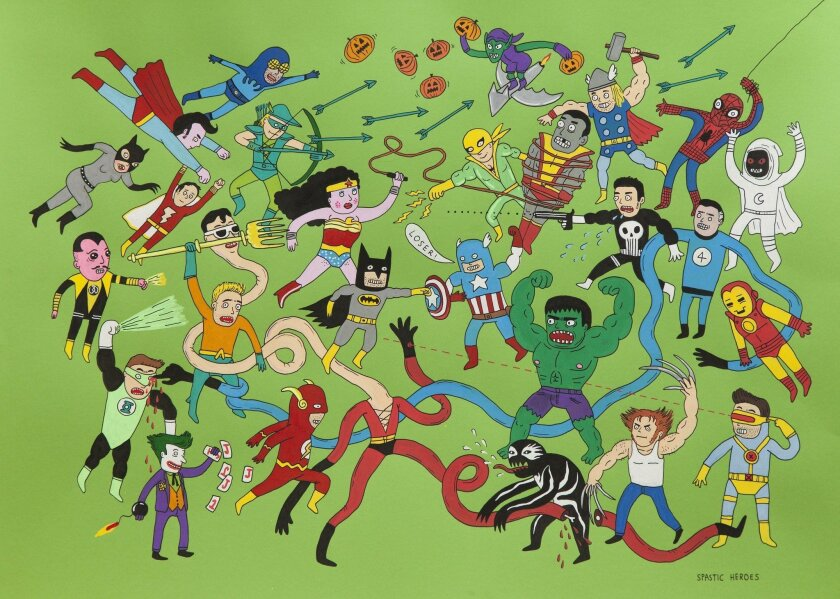 """""""My Hero: Contemporary Art & Superhero Action"""" features international pieces that look at the secret lives of super heroes and question their god-like images."""